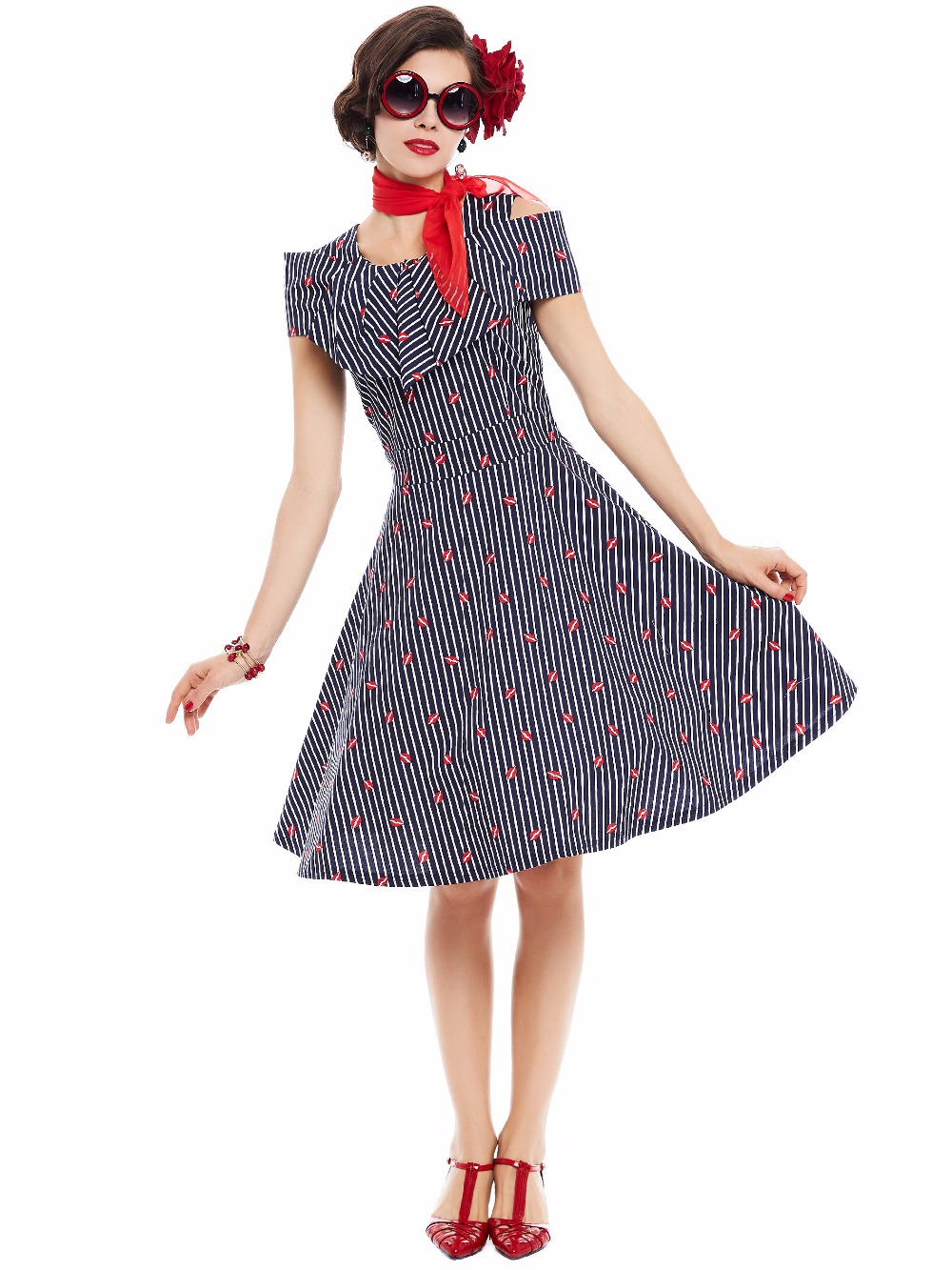 Sisjuly Vintage Dresses Design Knee High Summer Dress Red Lips Patterned Sqaure Collar Strap Dress For