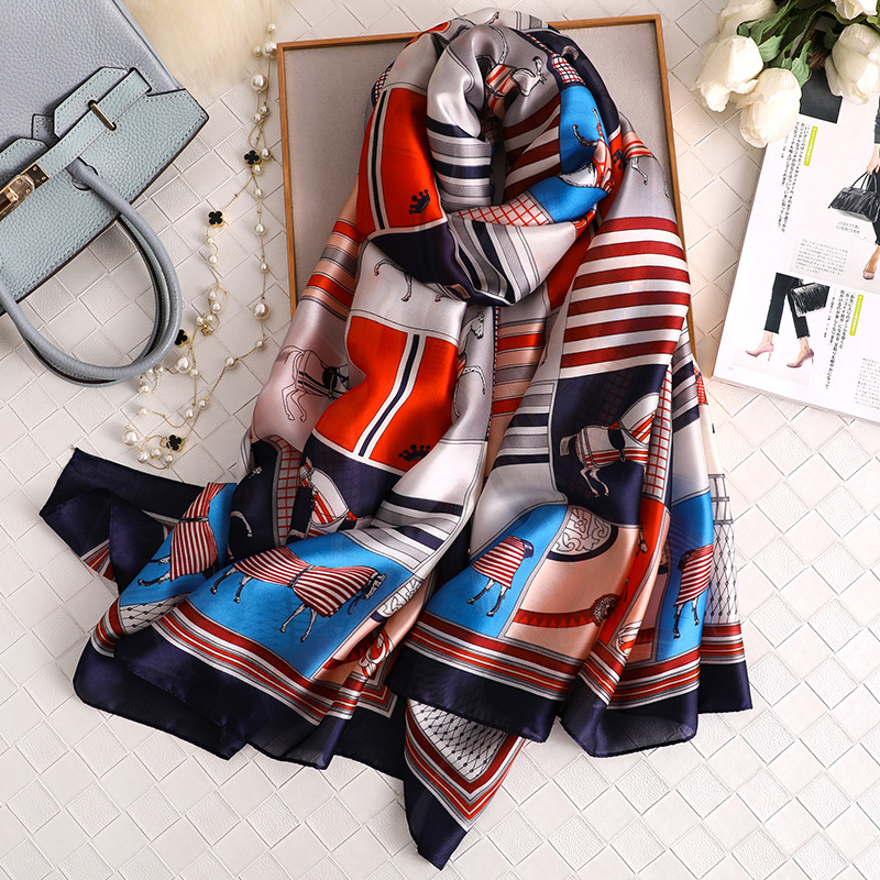 Luxury Brand Silk Scarf Women 2019 New Fashion Horse Printed Shawls And Wraps High Quality Soft Bandana Ladies Travel Pashmina