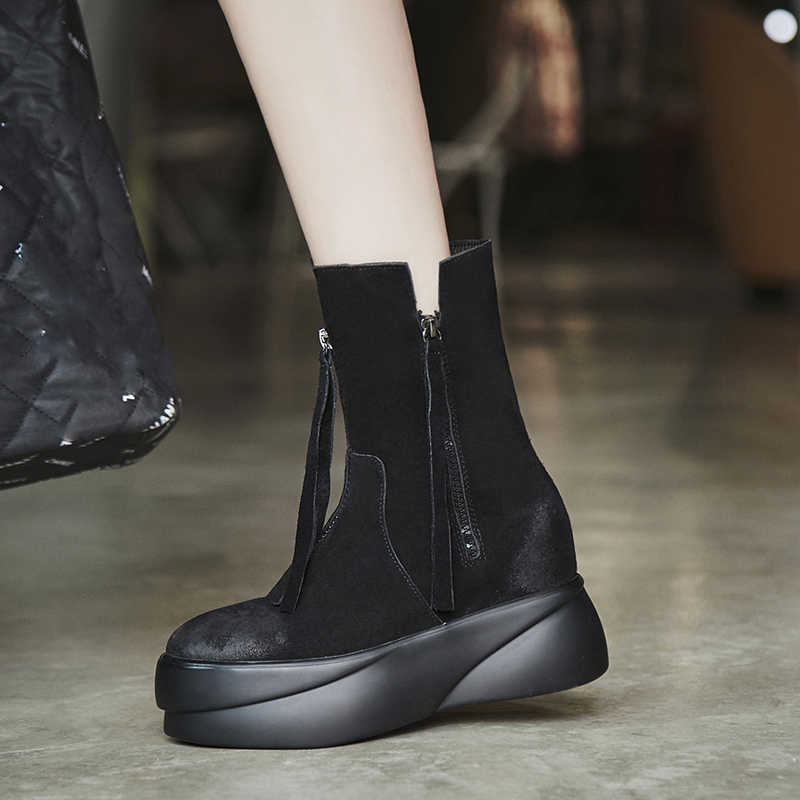 Arden Furtado 2018 kış kadın fringe inek deri takozlar artan topuklu platorm yuvarlak ayak moda rahat ayak bileği matin çizmeler yeni