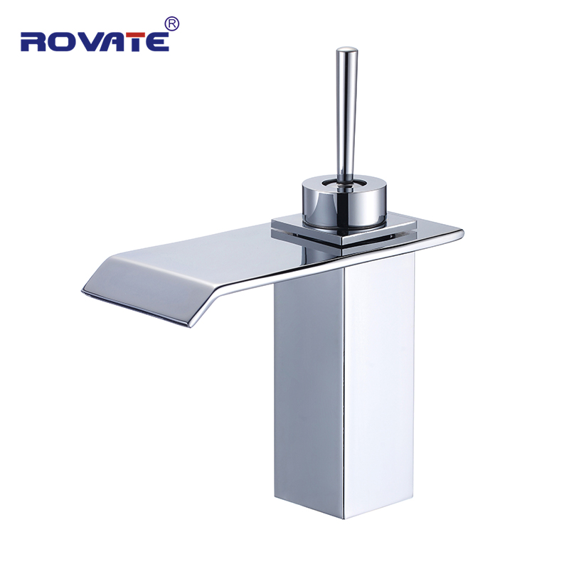 ROVATE Bathroom Sink Faucet Waterfall Brass Basin Mixer Tap Cold and Hot Water Vessel wholesale and retail modern antique brass bathroom basin faucet ceramic base vessel sink mixer tap hot and cold water