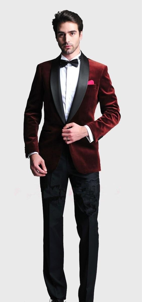 Aliexpress.com : Buy Burgundy Velvet Slim Fit 2016 Groom Tuxedos ...