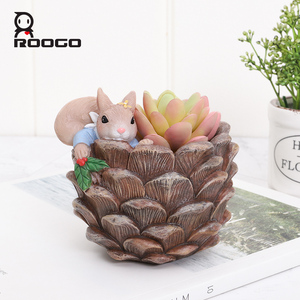 Image 2 - Roogo Cute Resin Animal Pots For Flowers Squirrel Nuts House Cachepot Cartoon Flower Pot Succulent For Home Garden Decoration