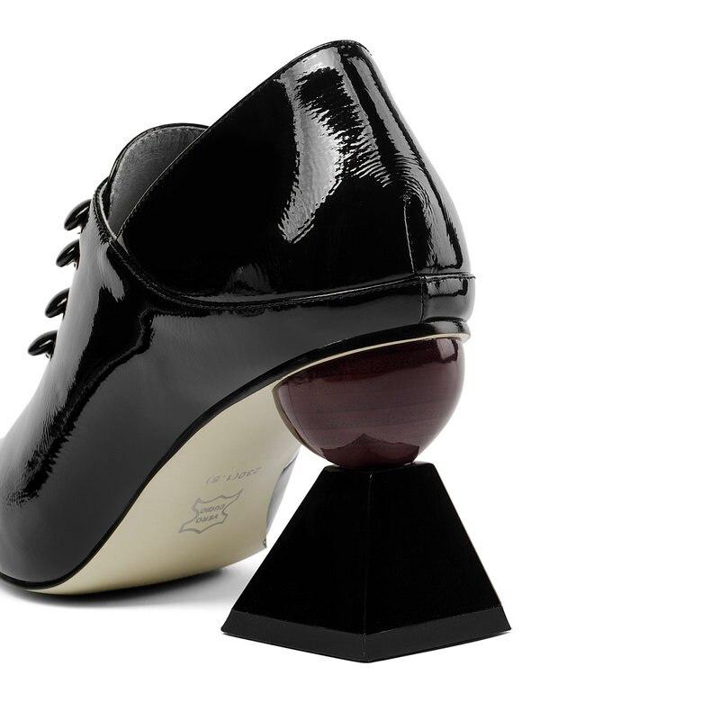 Lacets Véritable Nouveau Talons Chaussures Printemps Cuir Femmes 43 Noir Étrange 2019 Taille Classique Grande Automne À blanc Haute Pompes wRSq5dIx
