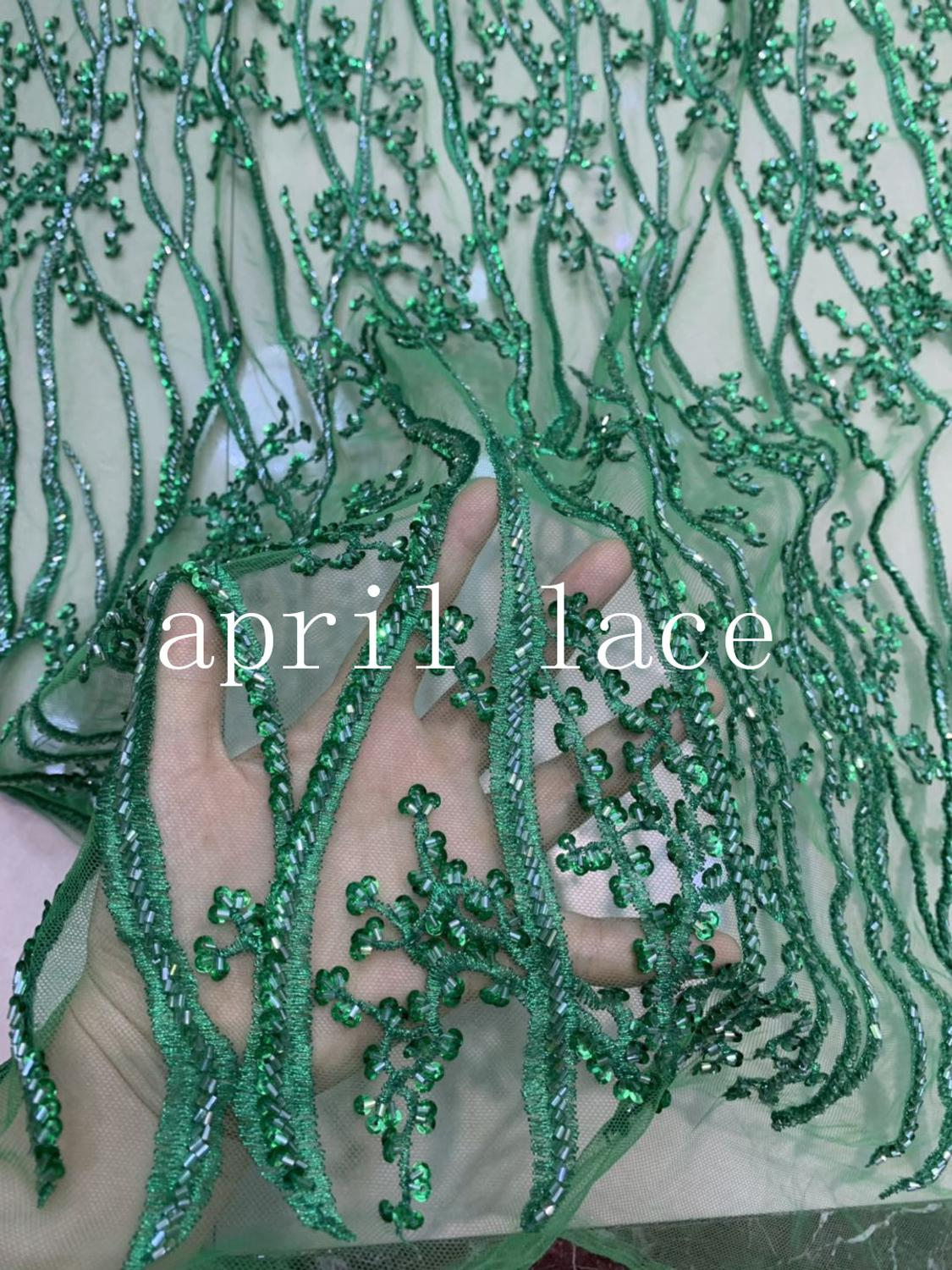 ww001 # 2019 new stock green 5yards/lot hand made beads sequin embroidery tulle mesh lace fabric for wedding bridal dress /party
