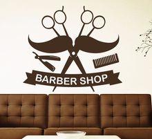 Barber Shop Salon Wall Decal Scissors Mustache Houseware Vinyl Haircut Sticker Hairdresser Dedicated Art Decor SYY283