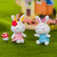 2PCS Cute Couple Rabbit/Dog Ornament DIY Micro Landscape Accessories Pretty Toy