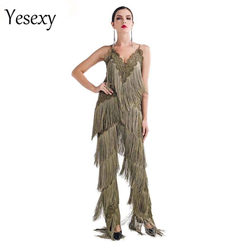 Yesexy 2019 Summer Sexy sleeveless V NECK Backless lace tassel Women Overalls Solid Color Rompers Jumpsuit