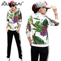 2 Piece Sets Women 2017 Spring&Autumn New Korean Fashion Casual Printed Slim Women Tracksuits Long Sleeve Sporting Suits