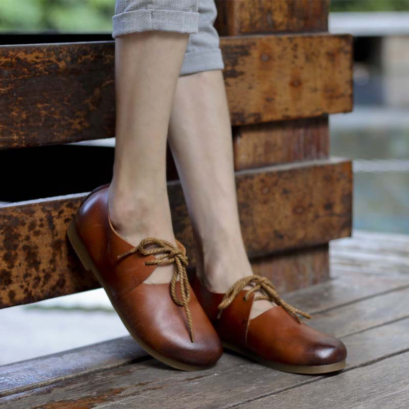 Toe Dack Leder made Flache Frauen light Hand Beyarne Lace Brown Plain Up Schuhe Weibliche Brown Echtes x74tCqCwTA
