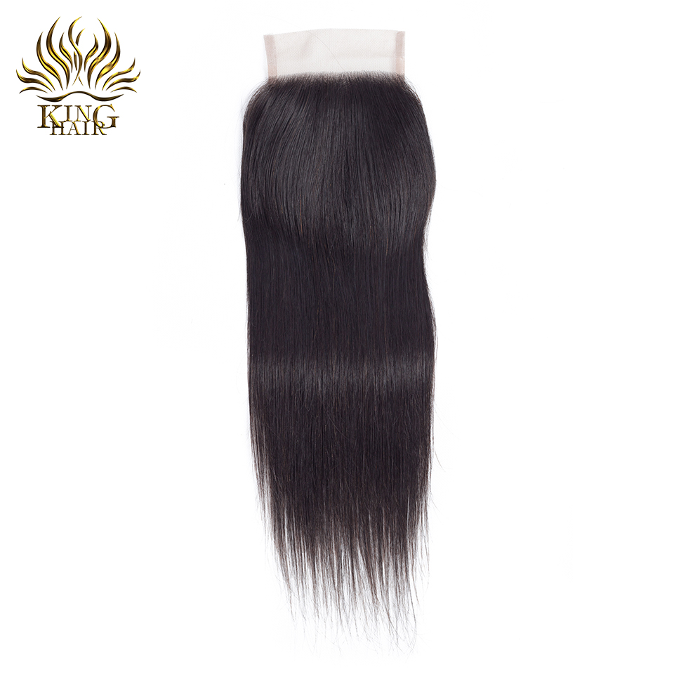 King Hair Brazilian Straight Lace Closure 4 4 Free Part Closure 130 Bleached Knots Swiss Lace