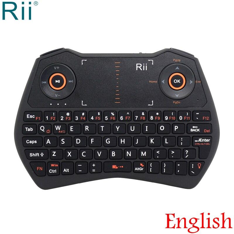 Rii i28 clavier rétroéclairé 2.4 GHz Mini clavier sans fil souris mouche avec pavé tactile pour Android TV Box, Mini PC, ordinateur portable