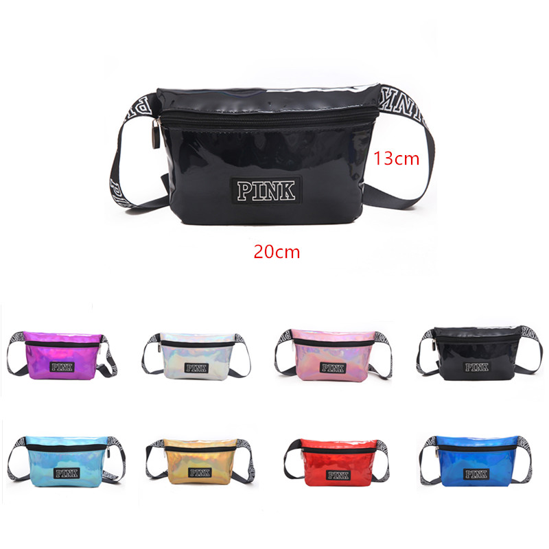 Pink Fanny Pack Holographic Letter Waist Bag Laser Pu Leg Bag Leisure Chest Phone Pouch Holographic Purse Big Waist Pack Women
