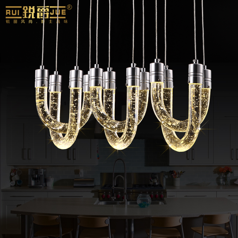 Modern Creative K9 Bubble Crystal 6 Heads White/warm White Light Led Pendant Light For Living Room Dining Room 1085 modern fashion luxurious rectangle k9 crystal led e14 e12 6 heads pendant light for living room dining room bar deco 2239