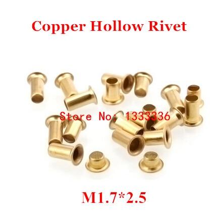 1000 pcs M1.7 * 2.5 (L) de Cobre Rebite Oco de 1.7mm placa de circuito Double-sided PCB vias unhas/milho cobre