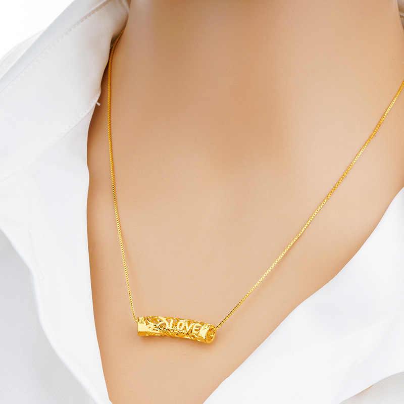OMHXFC סיטונאי אירופאי אופנה אישה ילדה מסיבת יום הולדת מתנה לחתונה בציר חלול צינור 18KT אמיתי זהב קסם תליון PN65