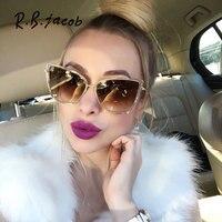 2017 Oversized Sunglasses Women Fashion Cat Eye Sunglasses Vintage Brand Designer Hipster Cateye Sun Glasses Points Metal Frame