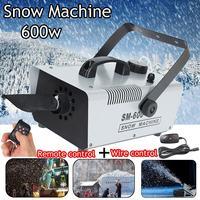 110V/220V 600W Mini Flurry Snow Machine Stage Effect + Wired Remote for Holiday Stage Snowmaker Spray Snow Soap Foam Machine