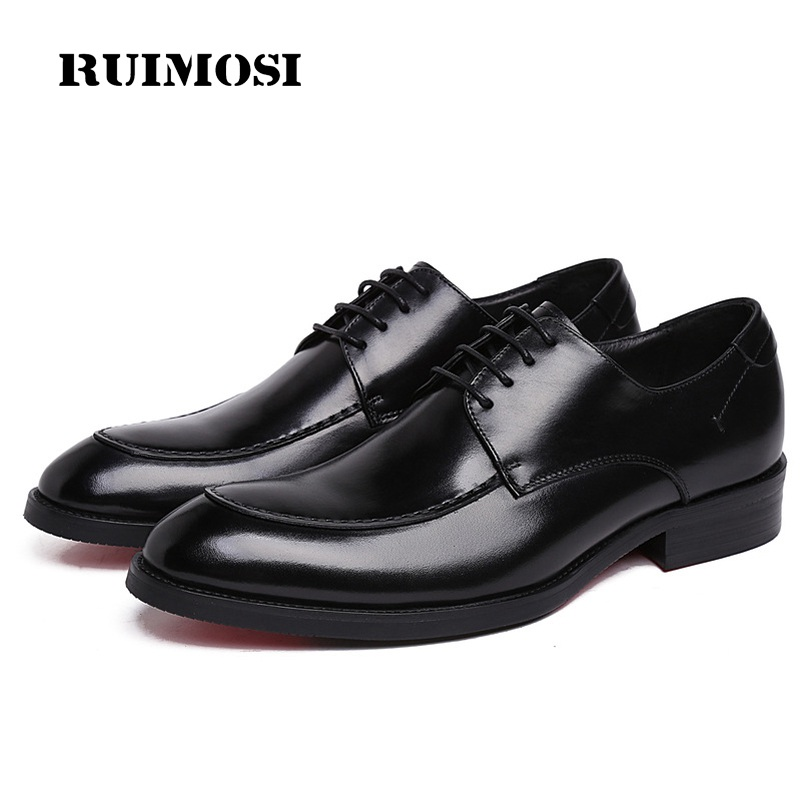 RUIMOSI Formal Man Handmade Bridal Dress Shoes Genuine Leather Wedding Oxfords Luxury Brand Round Toe Derby Men's Footwear XE63