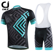 Cheji Brand 2016 Maze Cycling Jerseys Short Set Bike Clothing Black Green