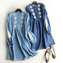 73603cafb0 2018 Yeni İlkbahar Yaz Kadın Elbise Yeni Mavi Avrupa Rüzgar Çiçek Nakış  Kazak Uzun Kollu Yüksek Bel Denim Gömlek Elbiseler