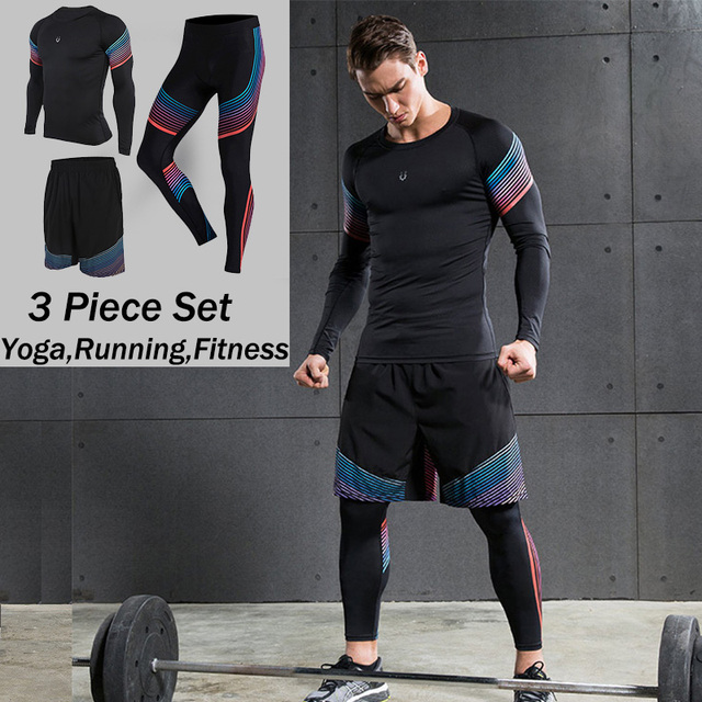 3 piece set mens sports running stretch tights leggingst
