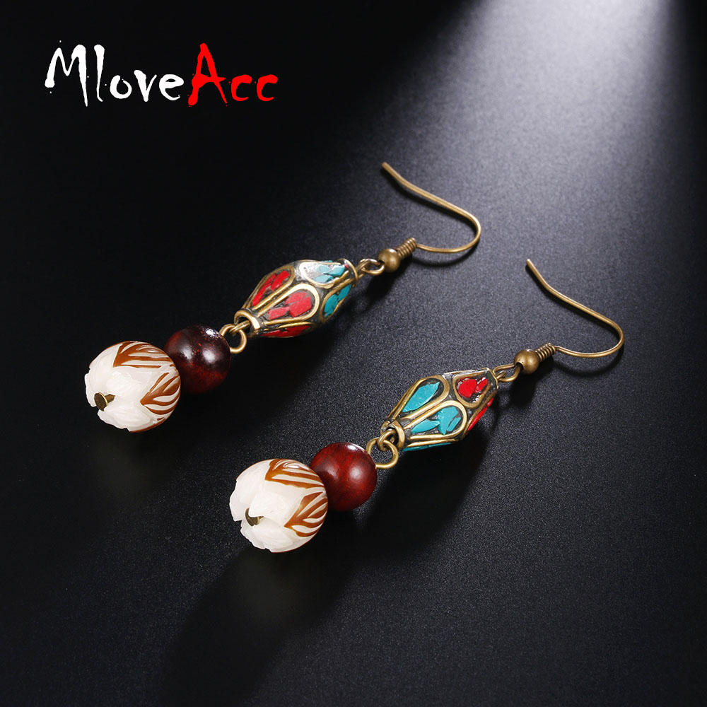 Original Beads: MloveAcc Original Exqiusite Nepal Beads Earrings Carved