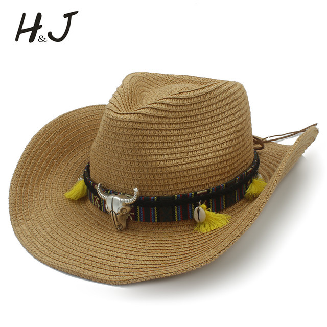 16eda117135eb Women Summer Straw Western Cowboy Hat With Roll Up Wide Brim Lady Jazz  Sombrero Hombre Cowgirl Hat