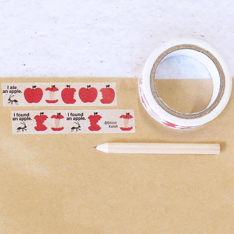 1 Uds. Cinta adhesiva bonita Washi para Apple, cinta adhesiva de decoración autoadhesiva DIY para álbum de recortes, pegatina escolar, artículos de papelería con etiquetas, 10m x 1,5 cm