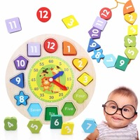 12 Numbers 3D Wall Clock DIY Educational Toy Wooden Threading Digital Beaded Leaning Clock Toys For