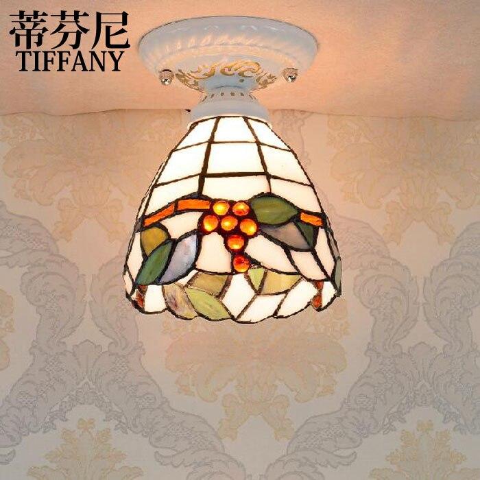 Tiffany style ceiling lamps color glass lamp Mediterranean Restaurant corridor lamp bedside lamp