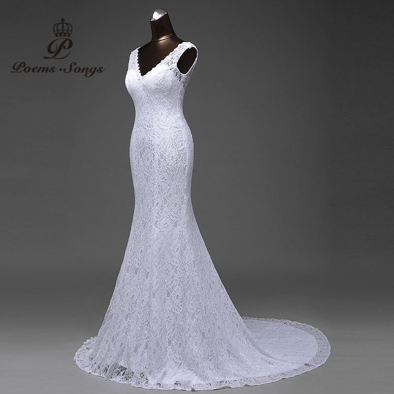 Image 4 - Free shipping  lustrous satin and lace flowers  very Sexy  Backless mermaid  Wedding Dresses vestidos de noiva robe de mariage-in Wedding Dresses from Weddings & Events