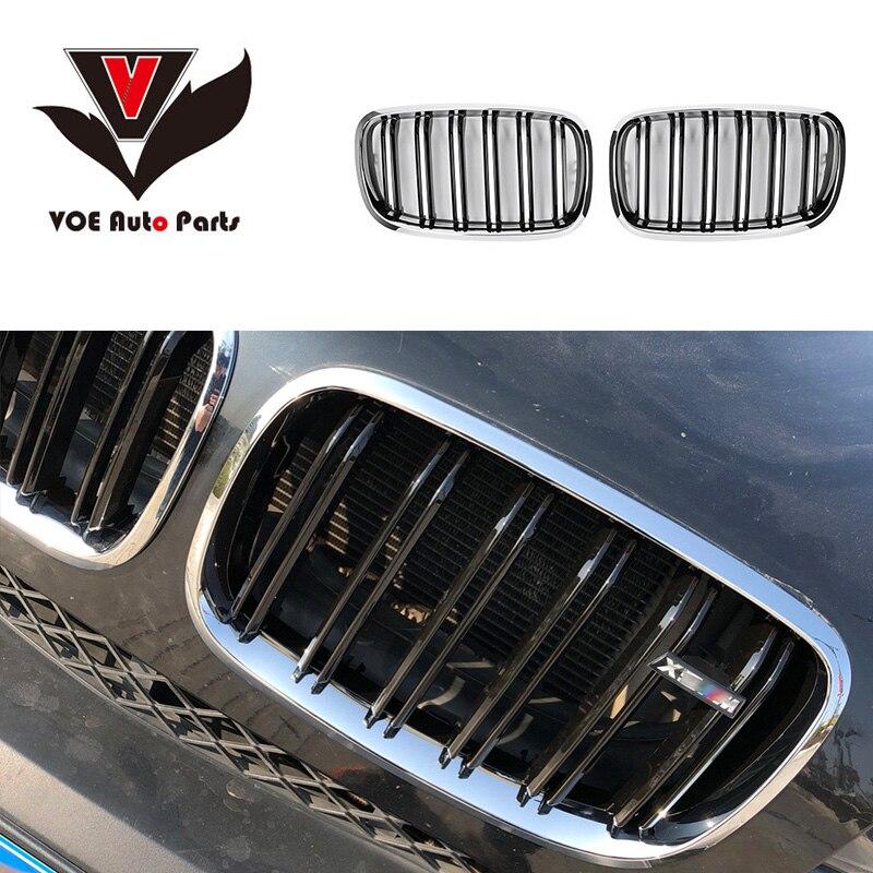 E70 E71 m-look rein Chrome brillant noir calandre de course avant pour BMW X5 E70 et BMW X6 E71 2008-2013