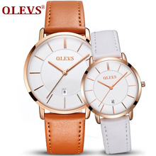 OLEVS 2018 Couple Watch Leather Casual Quartz Male Watch Ultra thin Automatically Calendar Ladies Watch Lover's Watches New