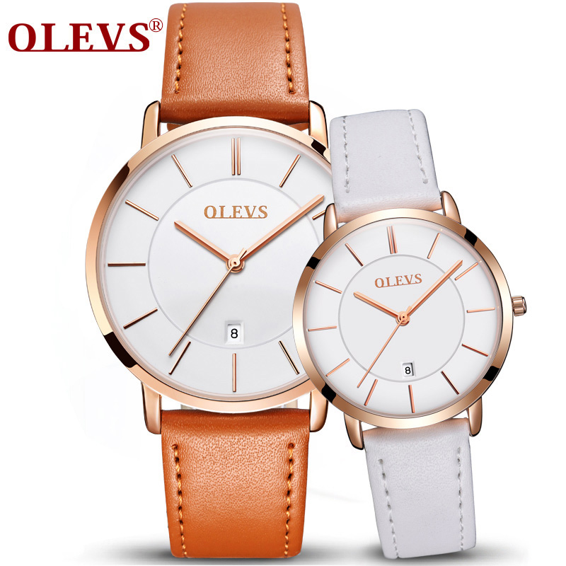 цены OLEVS 2018 Couple Watch Leather Casual Quartz Male Watch Ultra thin Automatically Calendar Ladies Watch Lover's Watches New