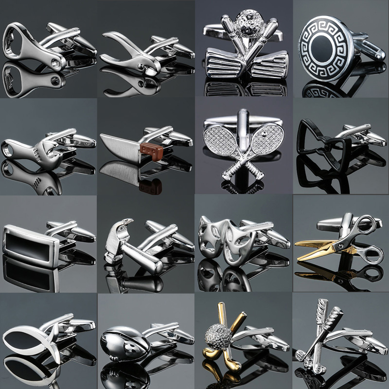 Direct Sale Wholesale Copper Quality Men's French Shirt Cufflinks Button Gadget Small Tool Hammer Knife Golf Racket Cufflinks