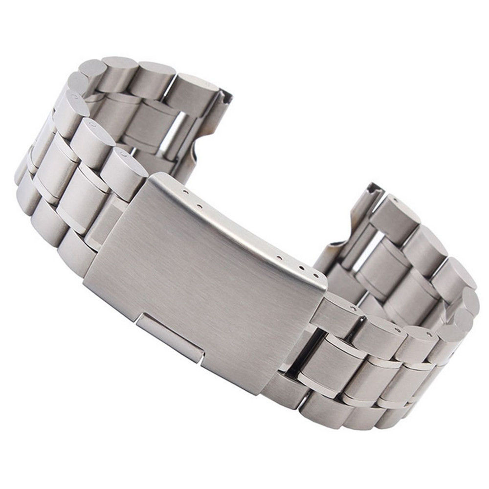 22mm Stainless Steel Watch Band Folding Clasp with Safety Strap + Tools For Moto 360 Smart Watch 22mm silver replacement folding clasp with safety shark mesh men watch band strap stainless steel 2 spring bars high quality