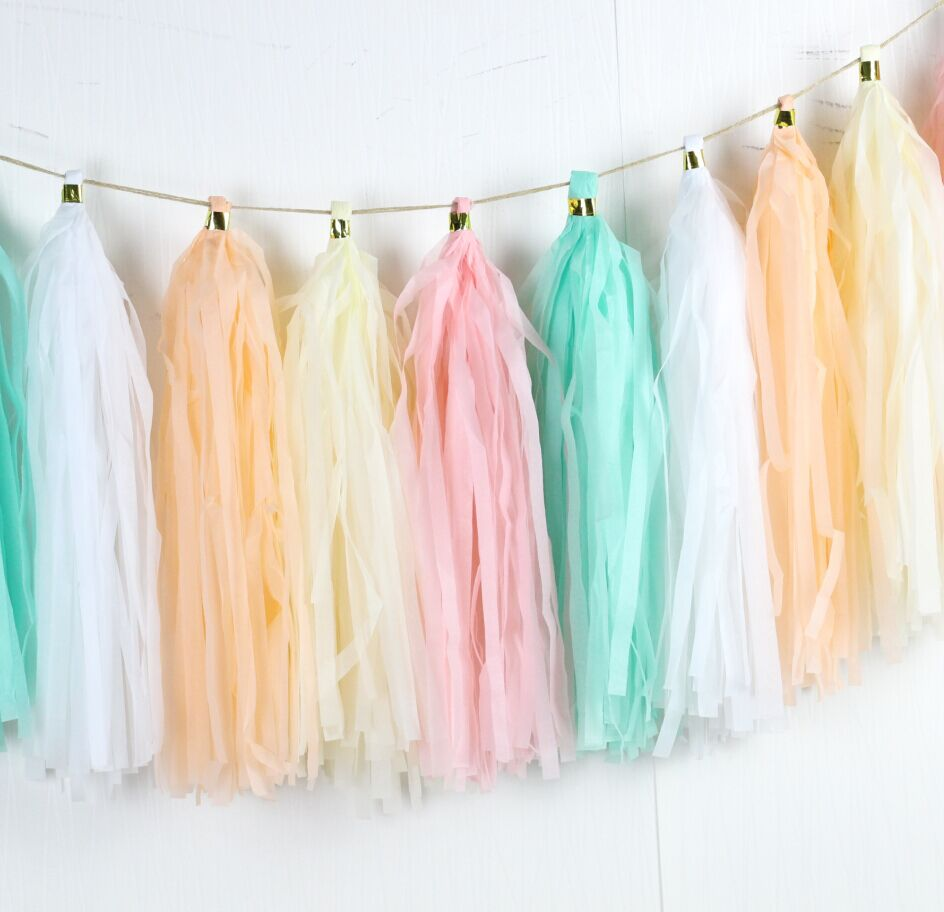 16pcs Pink White Cream Peach Mint Pastel Coloured Paper Hanging