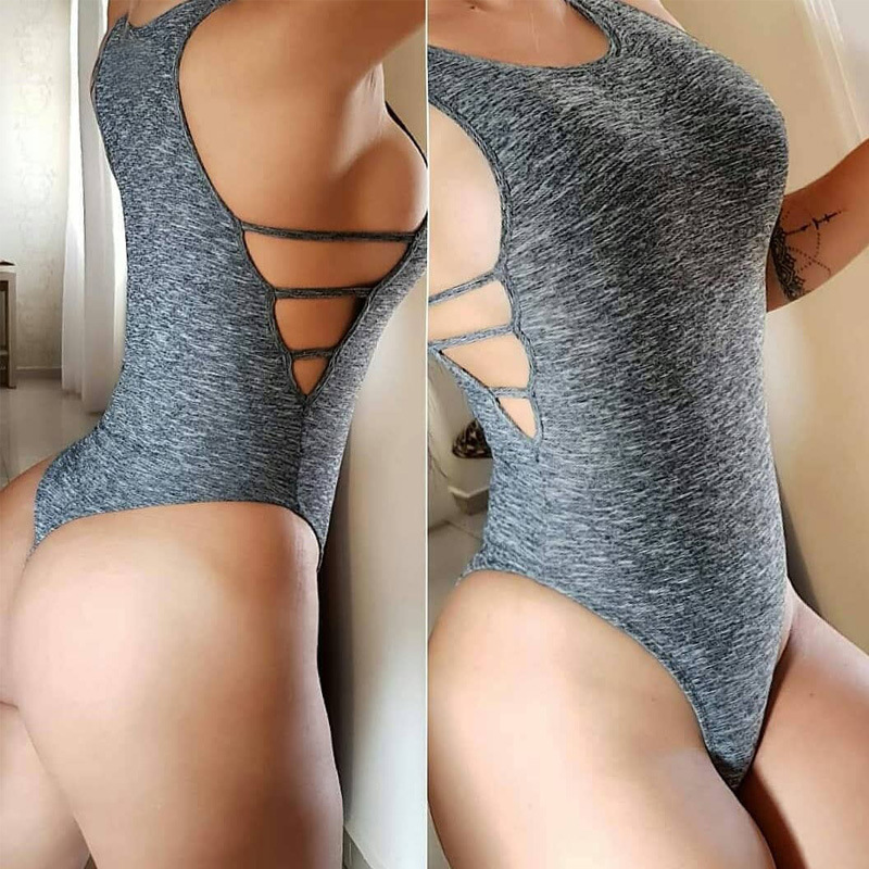 WEANIA Sexy Ladies Side Bandage Bodysuit Jumpsuit Fashion Women Sleeveless Sheath Solid Rompers Bodysuit Female Casual Bodysuit