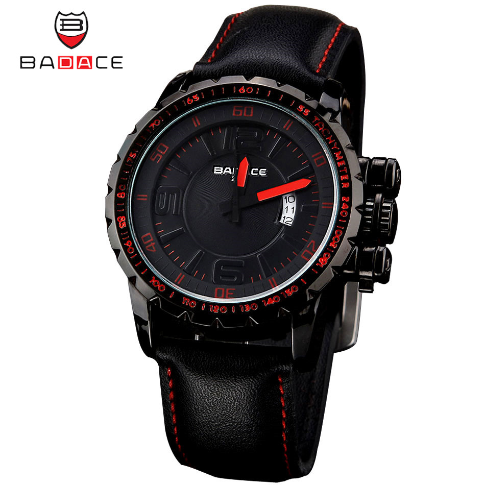 BADACE Fashion Sport Men Watches reloj hombre Casual Leather Strap Waterproof Quartz Watch montre Male Clock erkek kol saati halloween gift tvg watch fashion casual quartz watch men waterproof leather strap male quartz watch el backlight relojes hombre