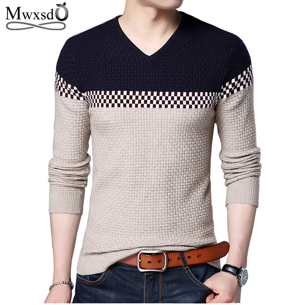 Mwxsd 2019 Spring New Men V-Neck Wool Sweater Men Knitted Cashmere Pullover Sweater Men Brand-Clothing