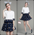 Europe and America 2 pcs woman sets cute small monkey jacquard half-sleeved T-shirt + tutu skirt suit RM-250