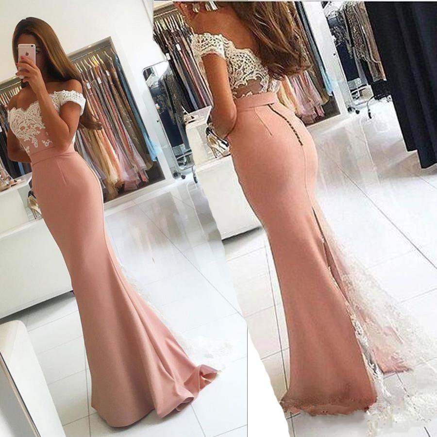 Robe de soiree Off The Shoulder Pink Lace   Evening     Dresses   2019 Sexy Back Applique   Evening     Dress   Formal Party Gown