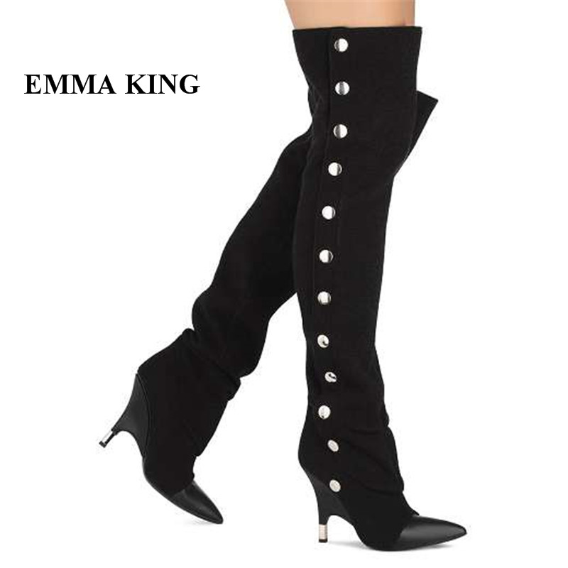 EMMA KING 2018 New Women Metal Rivets Decor Thigh High Over The Knee Boots Strange Heels Pointed Toe Riding Casual Boots WomenEMMA KING 2018 New Women Metal Rivets Decor Thigh High Over The Knee Boots Strange Heels Pointed Toe Riding Casual Boots Women