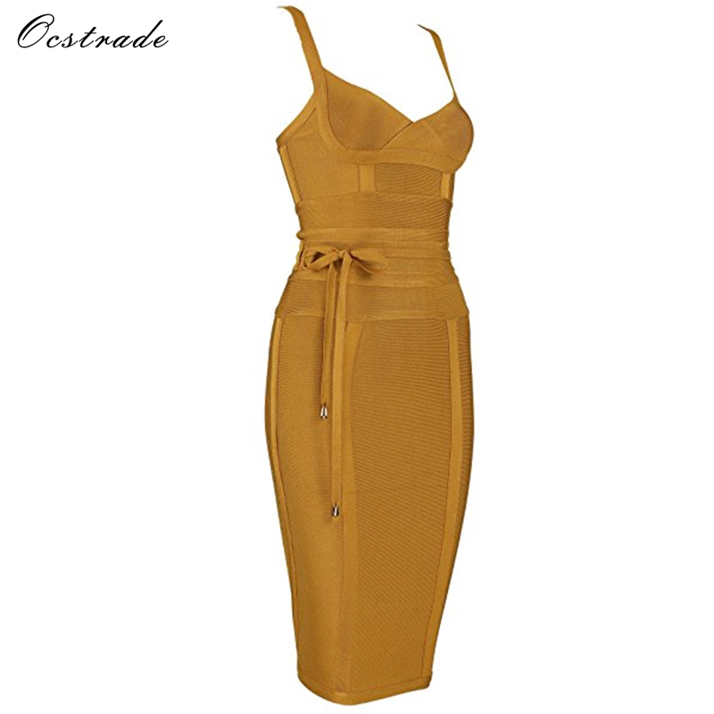 Ocstrade Women Bandage Dress 19 Rayon Sleeveless Summer New Arrivals Sexy Deep v Neck Vestido Bodycon Bandage Dress Club Party 13