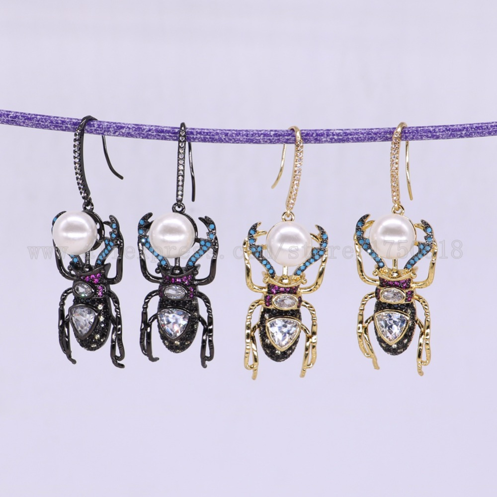 3 Pairs Fashion Insects Bugs Bee earrings with shell beads Gift for lady insect earrings colorful jewelry Earrings 2869