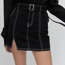 все цены на 2018 runway harajuku korean k pop 5252 by O!Oi skirt mini skirt streetwear split high waisted skirt women онлайн