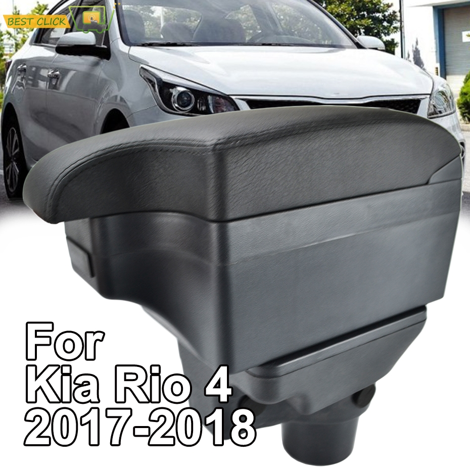 Car Styling Black Center Console Box For Kia Rio 4 2018 YB Rio4 New Armrest