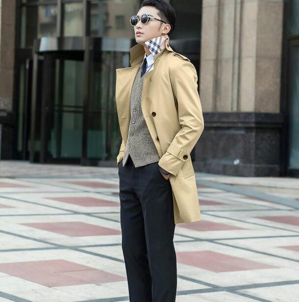 Printemps automne mince tranchée manteau hommes pardessus - a540 9768d9f591aa