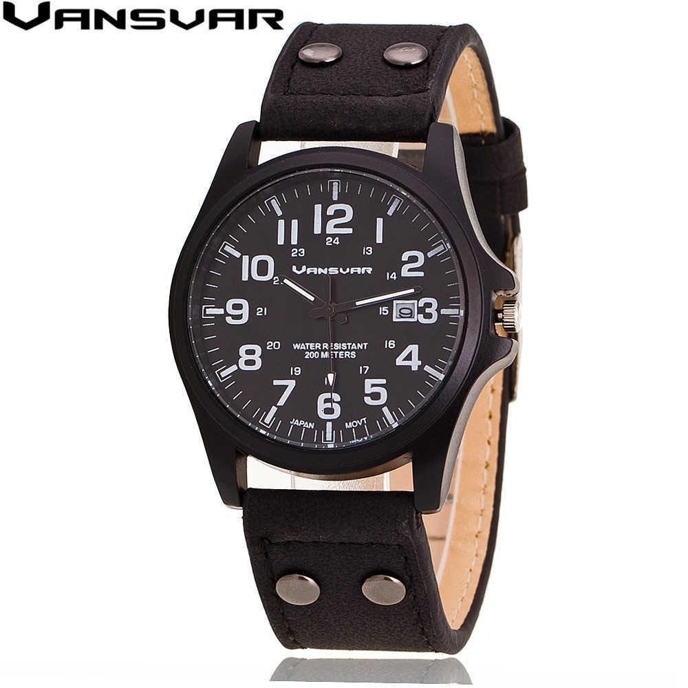VANSVAR 男性腕時計カジュアル革軍の腕時計アナログクォーツ時計レロジオ Masculino 1847