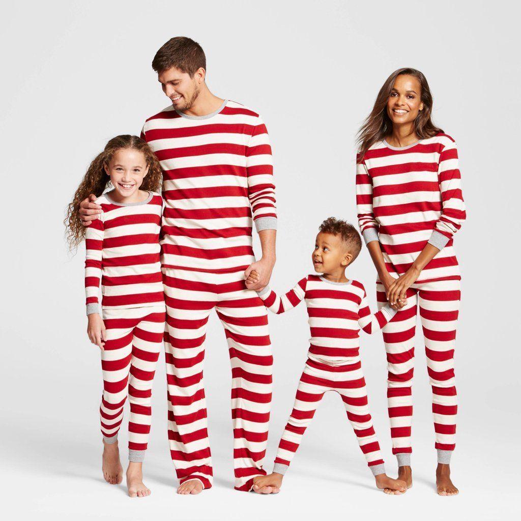 family matching christmas pajamas set xmas red striped
